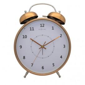 wekker NeXtime dia. 23 cm, metaal, koper, 'Wake Up'