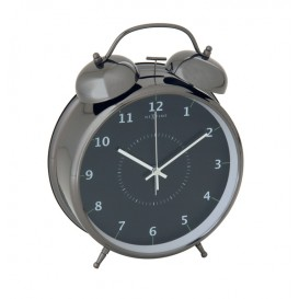 wekker NeXtime dia. 23 cm, metaal, zwart, 'Wake Up'