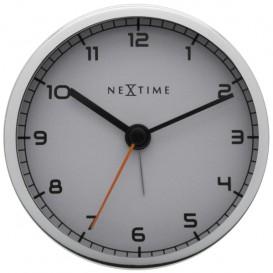 wekker NeXtime 9 x 9 x 7.5 cm, metaal, wit, 'Company Alarm'