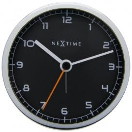 wekker NeXtime 9 x 9 x 7.5 cm, metaal, zwart, 'Company      Alarm'