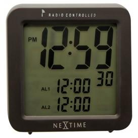 wekker NeXtime 9 x 9.2 cm, plastic, mat zwart, 'Square      Alarm' Radio Controlled