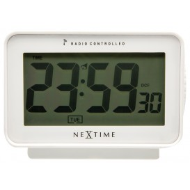 wekker NeXtime 12.3 x 8.8 cm, plastic, mat wit, 'Easy       Alarm' Radio Controlled