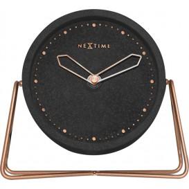Tafelklok NeXtime 17.5x15.5x5 cm, polyresin, zwart