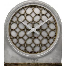 Tafelklok NeXtime 21.5x24.5x5.5 cm, Polyresin/Wood, grijs