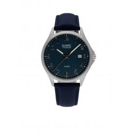 Olympic OL26HTL213 Ferrara Horloge Leer Blauw 40mm Heren