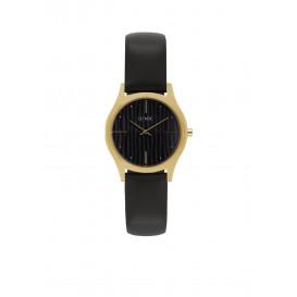 Olympic OL67DDL001 Vicenza Horloge Leer Zwart 32mm Dames
