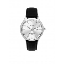 Olympic OL88HSL005 CLEVELAND Horloge Leer Zwart 42mm Heren