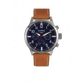 Olympic OL89HSL040 Skydive Horloge Leer Bruin 46mm Heren