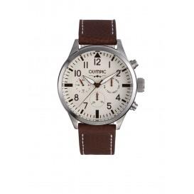 Olympic OL89HSL042 Skydive Horloge Leer Bruin 46mm Heren