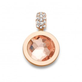 Mi Moneda Pendant Xs 925 Silver Rosegold Plated With Cz Stones Munthouder Maat XS PEN-03-XS