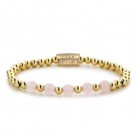 Rebel and Rose RR-60065-G-S Armband Yellow Gold meets Pink Rose
