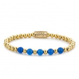Rebel and Rose RR-60066-G-M Armband Yellow Gold meets Brightening Blue - 6mm M 6mm 17.5