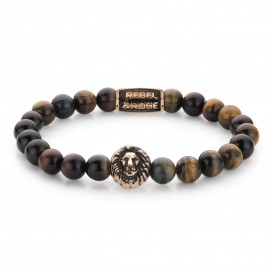 Rebel and Rose RR-8L032-R-XL Armband Who's afraid of the Lion - rose gold plated XL 8mm 21.0