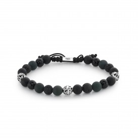 Rebel and Rose RR-8S012-S-SML Armband Mix Black Silver Rock - 8mm SML
