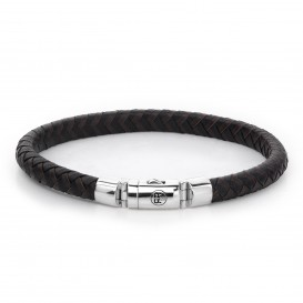 Rebel and Rose RR-L0061-S-S Armband Half Round Braided Black-Earth S 7.5mm 18.0