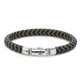 Rebel and Rose RR-L0062-S-S Armband Half Round Braided Black-Olive S 7.5mm 18.0