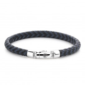 Rebel and Rose RR-L0063-S-M Armband Half Round Braided Black-Blue M 7.5mm 19.5