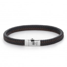 Rebel and Rose RR-L0071-S-M Armband Small Braided Black-Earth M 7mm 19.5
