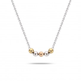 Rebel and Rose RR-NL004-S-49 Collier Necklace More Balls Than Most Tricolor Silver 925 - 42cm S