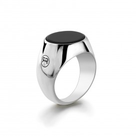 Rebel and Rose RR-RG001-S Ring zilver Round Onyx Maat 57