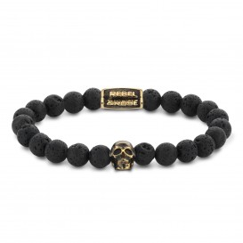 Rebel and Rose RR-SK002-G-M Armband Skull Black Moon - yellow gold plated M 8mm 17.5