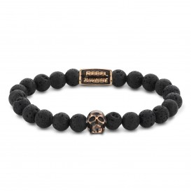 Rebel and Rose RR-SK003-R-S Armband Skull Black Moon - rose gold plated S 8mm 16.5