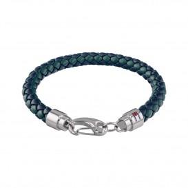 Tommy Hilfiger TJ2790045 Armband leder/staal blauw-groen