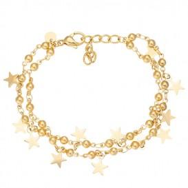 IXXXI A0032899001 Enkelband Dazzling Stars staal goudkleurig 23-27 cm