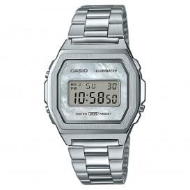 Casio horloge A1000D-7EF Vintage 38 mm zilverkleurig