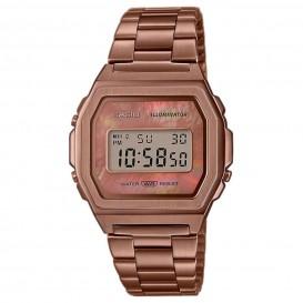 Casio horloge A1000RG-5EF Meshband Vintage bruin-goudkleurig 38 mm