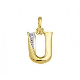Bedel Letter U Diamant 0.005 Ct. Goud