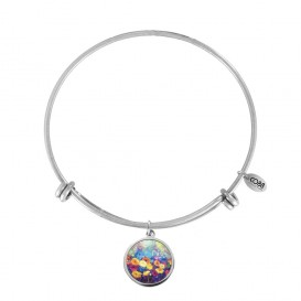 CO88 Collection 8CB-11028 - Stalen bangle met bedel - gerbera 20 mm - Ø 60 mm - zilverkleurig