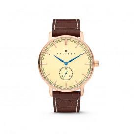 Kaliber 7KW-00003 Horloge met lederen band bruin-rosékleurig 40 mm