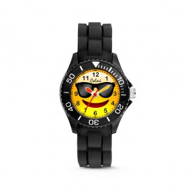 Colori Happy Smile 5-CLK074 - Kinderhorloge - siliconen band - zwart - 30 mm