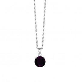 New Bling 9NB-0024 - Zilveren collier met hanger - zirkonia rond 10 mm - lengte 40 + 5 cm - zilverkleurig / paars