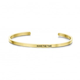 Key Moments 8KM-B00101 Stalen open bangle met tekst make the time zirkonia one-size goudkleurig
