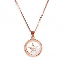 CO88 Collection 8CN-26010 - Stalen collier met hanger - ster en zirkonia in glas - hanger 17 mm - collier 38+5 cm - rosékleurig