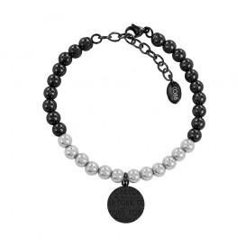 CO88 Collection 8CB-14019 - Armband met bedel - staal 6 mm - CO88 logo - lengte 17 + 5 cm - zilverkleurig / zwart