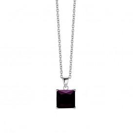 New Bling 9NB-0036 - Zilveren collier met hanger - zirkonia vierkant 10 mm - lengte 40 + 5 cm - zilverkleurig / paars