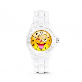 Colori Happy Smile 5-CLK078 - Kinderhorloge - siliconen band - wit - 30 mm