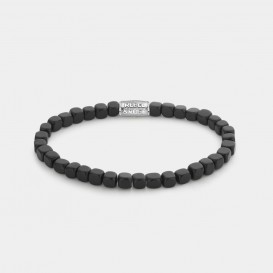 Rebel and Rose RR-40079-S Armband Roll The Dices - The Black Stone - 4mm L 4,0 mm Zwart L 19 cm 1