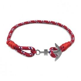 Frank 1967 Armband Rope met stalen anker blauw-rood-wit-zilverkleurig 22,5 cm 7FB-0080