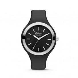Colori Macaron 5-COL503 - Horloge - silconen band - zwart - 44 mm