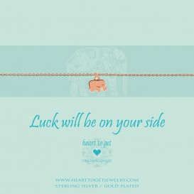 Heart to get B254SEL15R luck will be on your side bracelet small elephant rosegold plated