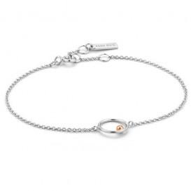 Ania Haie B001-03T Armband Orbit Chain Circle zilver- en rosekleurig 16,5-18,5 cm