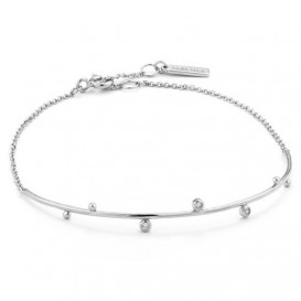 Ania Haie B003-02H Armband Shimmered Solid Bar Stud zilver 16,5 - 18,5 cm