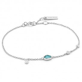 Ania Haie B014-01H Armband Turquoise Discs zilver 16,5-18,5 cm