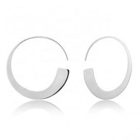 Ania Haie E005-01H Oorhangers Geometry Slim Hoop zilver 35 mm