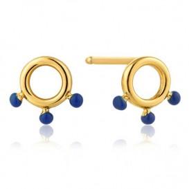 Ania Haie E006-04G Oorbellen Dotted Circle goudkleurig-blauw