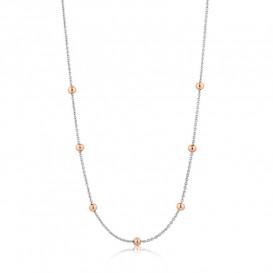 Ania Haie N001-04T Ketting Orbit Beaded zilver en rosekleurig 35-40 cm
